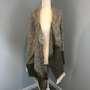 Cream and olive open cardigan